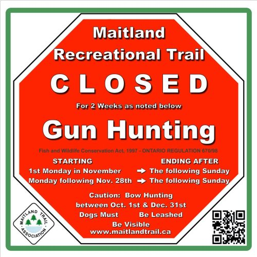 Warning sign for trail closures gun hunting