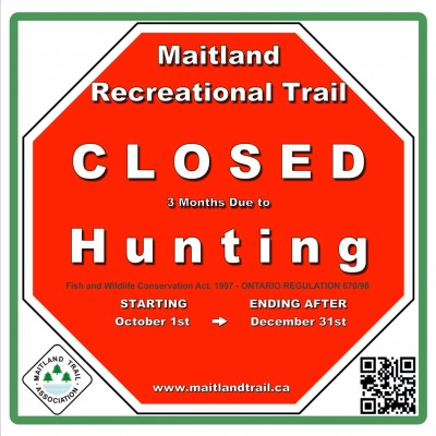 Warning sign for trail closure three months